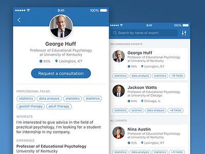 EDU Consultation app tags cards profile science university professor student education ios ui ux mobile