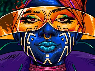 Spacekeeper - colors afrofuturism poster illustration tshirt