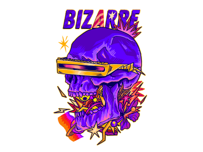 Bizarre Skull cyberpunk psychedelia colorful retro sci-fi psychedelic artwork poster skull illustration tshirt