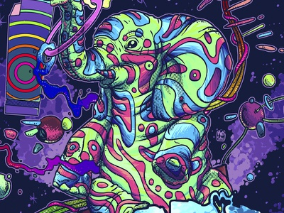 Jungle Ting! - detail psychedelic gig poster