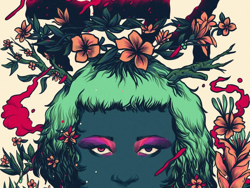 Flower girl poster colorful illustration poster