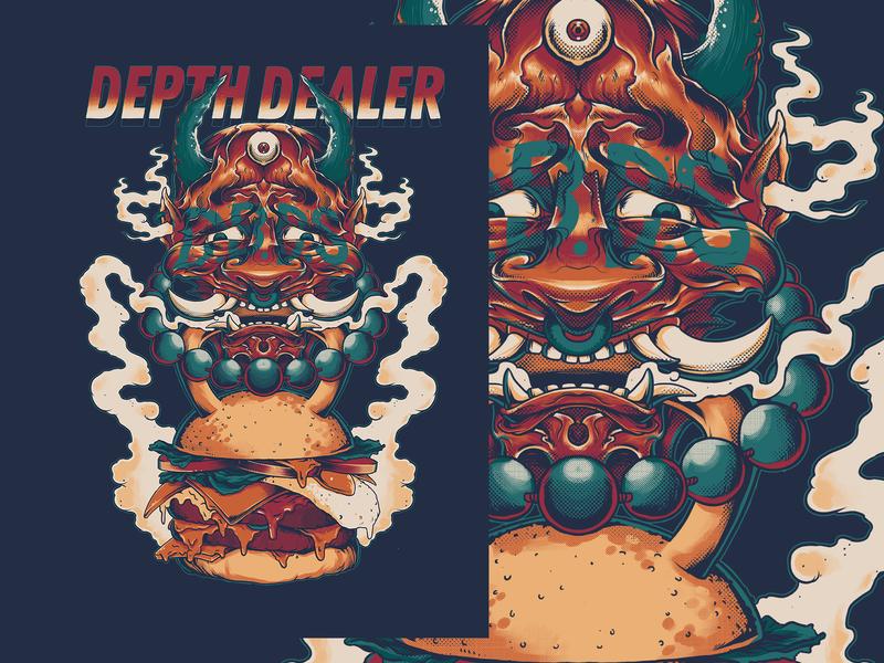 Depth Dealer - Depth Before Dishonor oriental artwork hannya tee design illustration tshirt