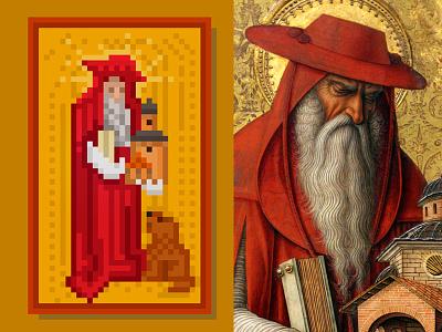 Pixel Jerome - Crivelli paintings pixelart gallery national jerome saint crivelli carlo