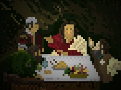 Pixel Supper At Emmaus painting baroque caravaggio london nationalgallery emmaus at supper