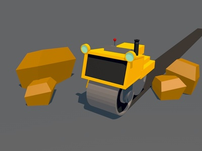 Steam Roller c4d 3d lowpoly poly low