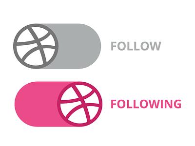 Dribbble Follow Button Concept illustration