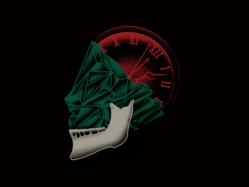 Emerald Skull Clock tattoo flash clock time emerald skull treasure