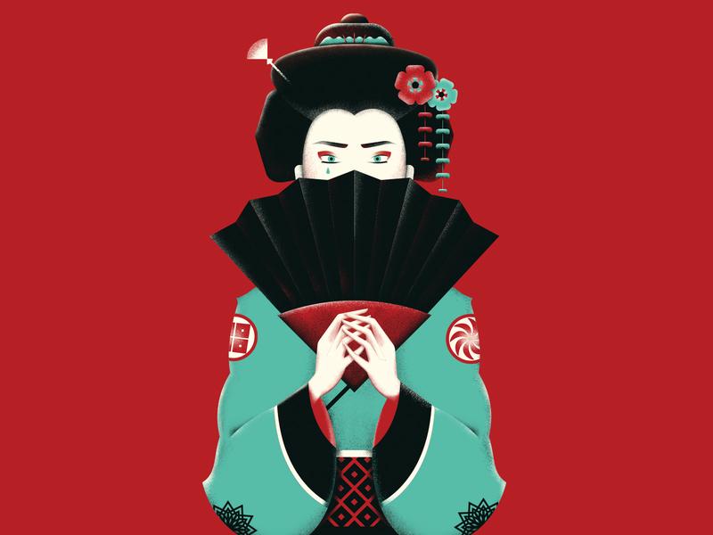 Geisha costume hands hair flower culture ethnic far east orient fan nippon female woman asian japanese geisha