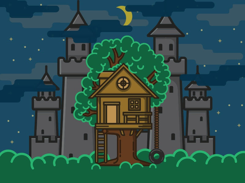 Treehouse Castle clouds stars night house tree sky moon castle treehouse