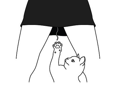 Curiosity line work cute female kitten kitty feline bleed tampon cat