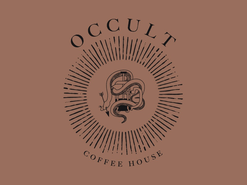 Occult Coffee House Branding serif hand drawn illustration typography arrow coffee french press snek snake occult