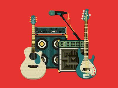 Band Gear Art Deco microphone amp bass guitar music band art deco