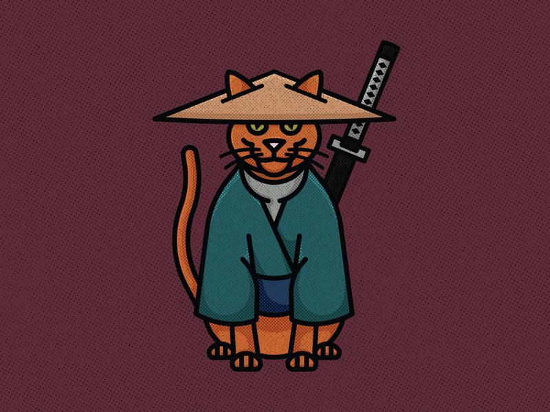 Samurai Cat gato feline inktober swing blade katana sword ninja samurai cat