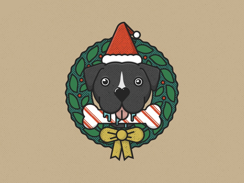 Dog Xmas Wreath wreath christmas xmas pet animal tongue santa bone pitbull pit puppy pupper doggo canine k9 dog