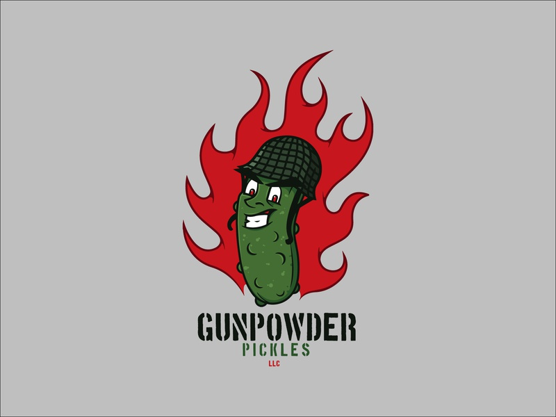 Gunpowder Pickles, LLC Logo food military army war ww2 pickle logo branding