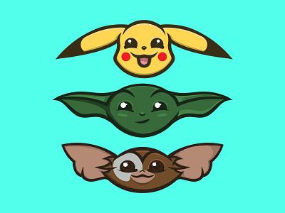 The Holy Trinity cute illustration star wars pokemon gremlins gizmo pikachu yoda trinity