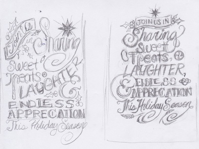 Hand Lettered Holiday Card Sketches sketches pencil hand lettering holiday card