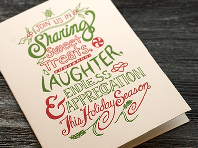 Hand Lettered, Letterpress Holiday Card hand lettering holiday card letterpress illustration printing