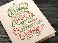 Hand Lettered, Letterpress Holiday Card