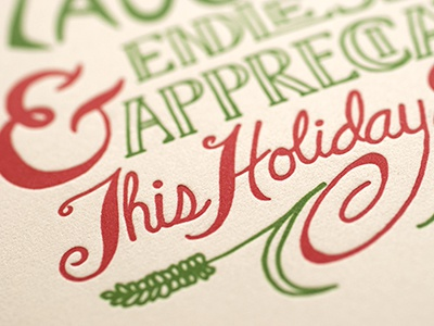 Hand Lettered, Letterpress Holiday Card Closeup hand lettering holiday card letterpress illustration printing