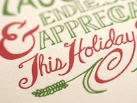 Hand Lettered, Letterpress Holiday Card Closeup