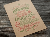 Hand Lettered, Letterpress Holiday Card–Chipboard