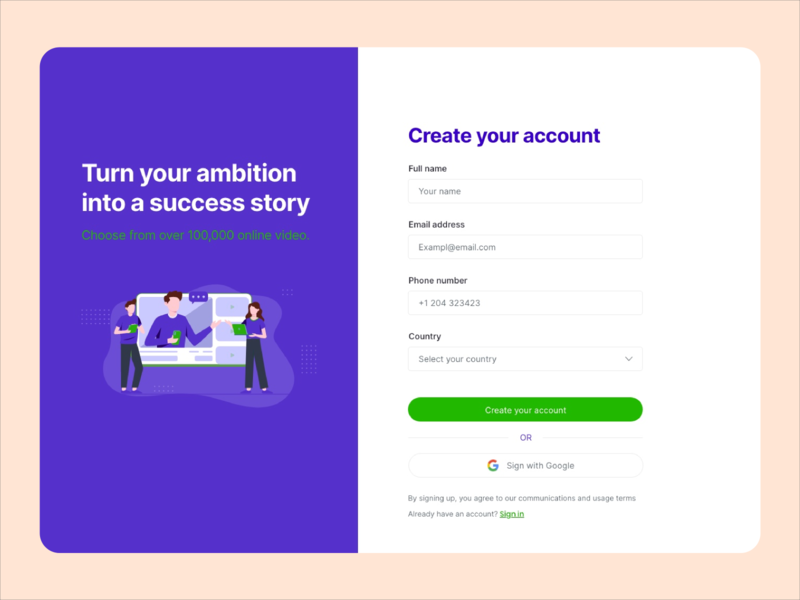 Design for an educational platform signup screen ui  ux ui wip illustration user experience product design interface ui design