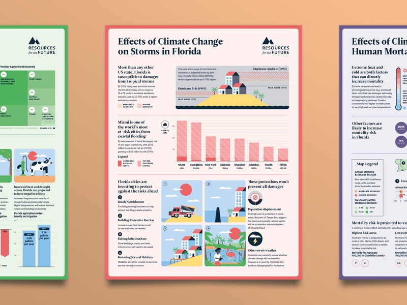 The Florida Climate Outlook - No 4 editorial environment storm island beach science research florida climate climate change poster data visualisation data visualization data viz infographic