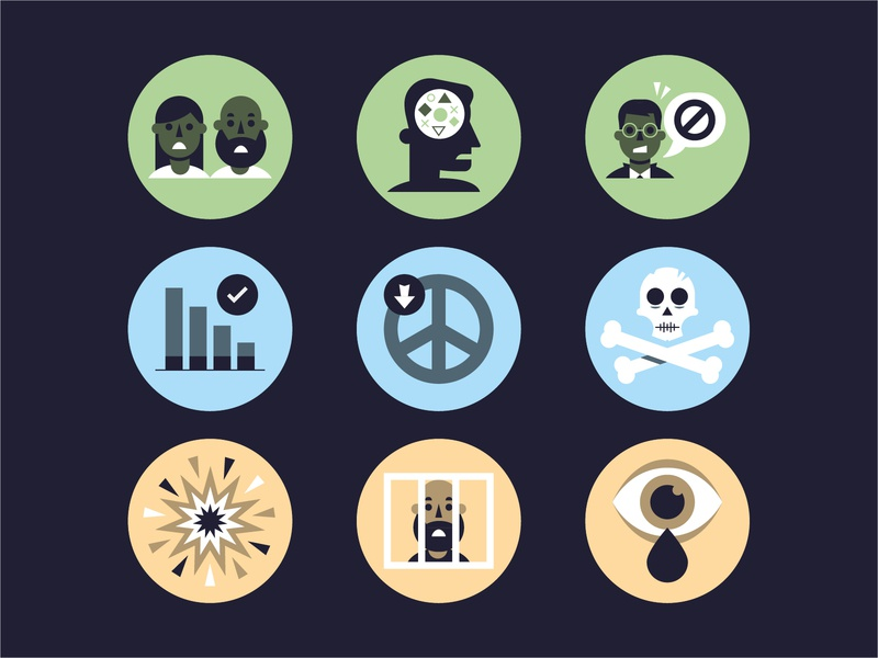 A refugee's journey / Icons charity woman man minimal infographic graph skull eye people refugee icons