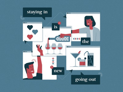 Staying in is the new going out... pub bar conversation isolation cocktail fun bottle martini drink wine friends family talk chat dribbbleweeklywarmup coronavirus