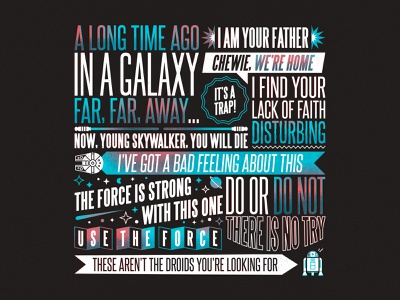 The best of Star Wars! jedi skywalker lightsaber millenium falcon r2d2 star wars day may 4th typography movie film quote star wars