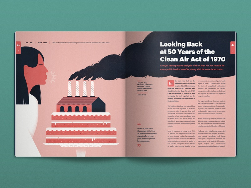 Looking back at the Clean Air Act... anniversary birthday cake magazine air research environment science chimney woman smoke editorial