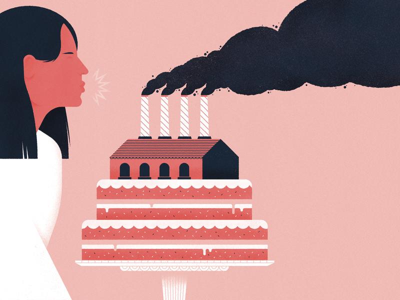 Celebrating Clean Air! environment air smoke factory birthday cake woman magazine illustration science editorial