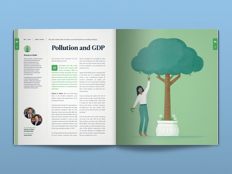 Pollution and GDP environment accounting research pollution plant money tree woman magazine illustration nature science editorial