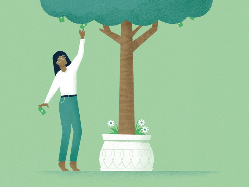 Money doesn't grow on trees? woman plant money tree pollution research magazine environment nature illustration science editorial