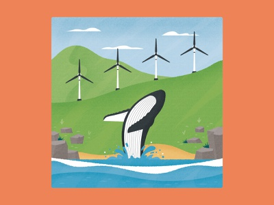 Whales and Wind Turbines research magazine lanscape hill cloud ocean sea renewable energy wind turbine whale conservation nature wildlife animal science editorial