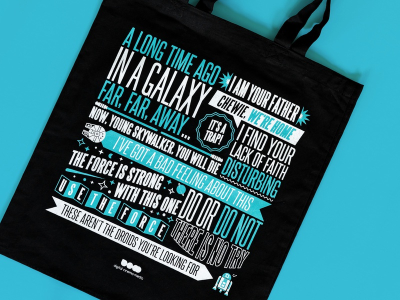 Star Wars Movie Quote Tote space galaxy print science fiction cinema bag iconic star wars quote film movie tote bag