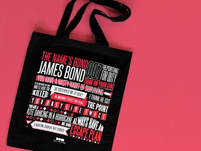 James Bond Movie Quote Tote bond iconic quote cinema james bond 007 movie film bag tote bag