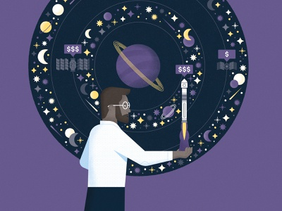 Space Economics! print editorial nasa satellite stars moon money cost scientist economics rocket planet space science