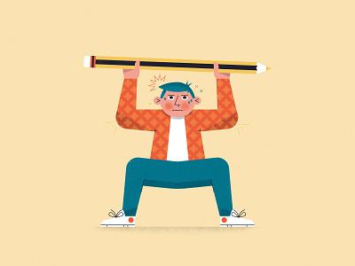 Creative Struggle! No. 3 exercise character struggle lift weight man vector creative block conceptual editorial process crayon pencil creativity