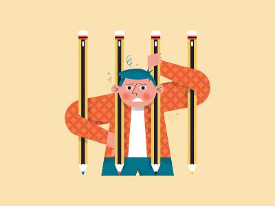 Creative Struggle! No. 4 conceptual editorial crayon pencil creative block struggle character design character creativity