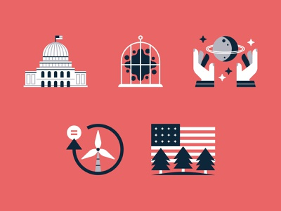 Environmental Research Icons / Part 4 american flag forest tree wind turbine renewable energy planet space carbon policy climate change iconography icon print report annual report environment science research magazine editorial