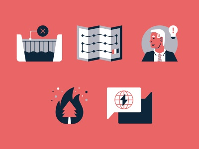 Environmental Research Icons / Part 5 conversation fire wildfire joe biden map dam climate change iconography icon print report annual report environment science research magazine editorial
