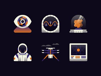 Mars Exploration Icons science icon icon set data visualisation data visualization data viz infographic computer screen helicopter astronaut nasa rock dna retro eye gradient icons space mars