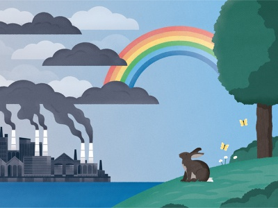 Reducing Greenhouse Gas Emissions greenhouse gases rainbow butterfly rabbit conservation wildlife animal nature science editorial emissions climate change