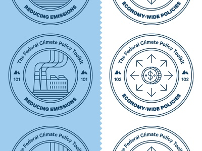 Climate Policy Badges editorial stamp coin money factory science research line icon icon policy climate change badge environment magazine