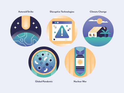 Existential Threat Icons virus pandemic space climate change extinction icon set icons icon science editorial data visualisation data visualization infographic data viz