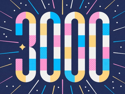 3000 followers! creativity type thanks typography number dribbble followers