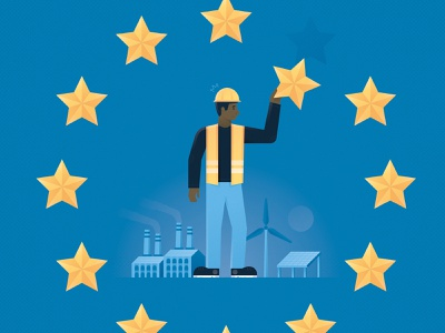 The EU's Equitable Transition star wind solar renewable energy science editorial magazine environment climate climate change