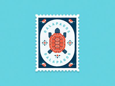 Travel Stamp No. 8 - The Galapagos animals wildlife travel darwin birds tortoise turtle galapagos stamp